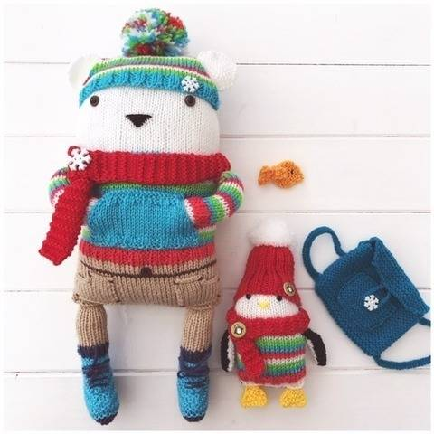 Knitted Polar Bear Toy 'Bjorn', Penguin 'Polo' & Fish 'Fin'