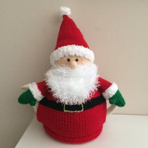Tea cosy knitting pattern Father Christmas 6 cup teapot. PDF