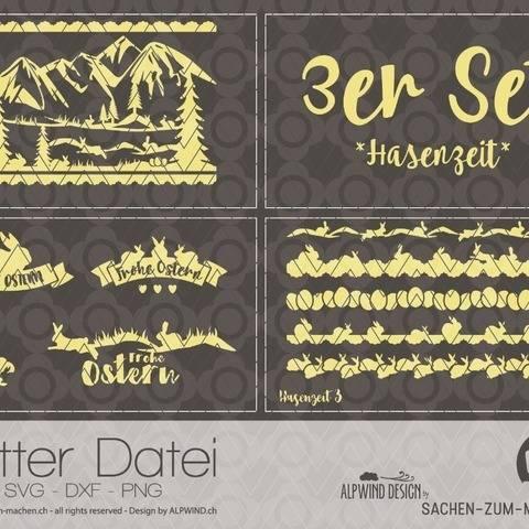 """Plotter-Datei """"Hasenzeit"""" (3er-Set)"""