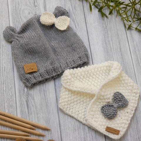 Baby Set - Cuddly Bear - Hat & Scarf - No.93SE