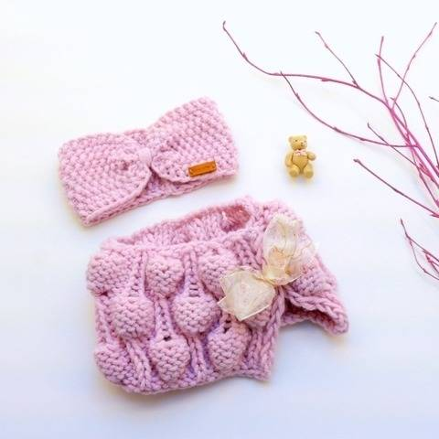 Baby Set - BUBBLES - Headband & Scarf - No.195E
