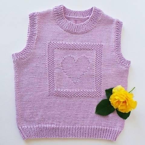 Débardeur enfant motif coeur - Tutoriel tricot