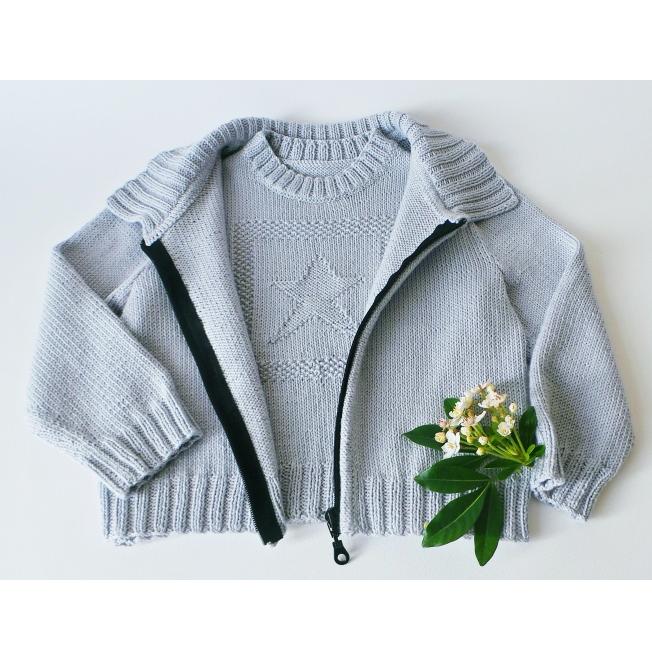 Blouson enfant étoile en coton - Tutoriel tricot