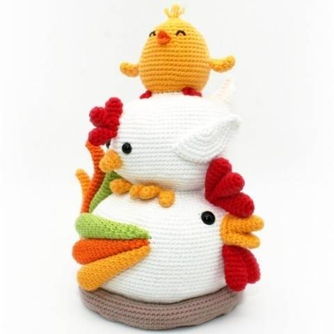 Chicken Stack - Doorstop, Decoration - Crochet Pattern