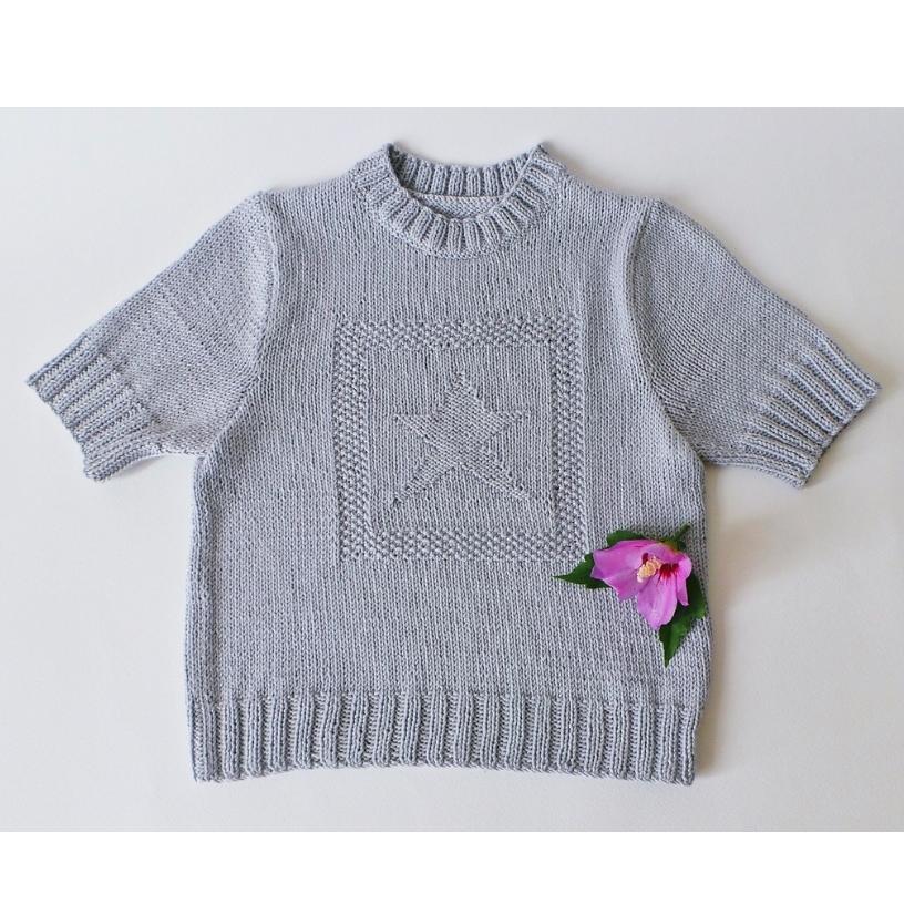 Pull enfant manches courtes étoile - Tutoriel tricot