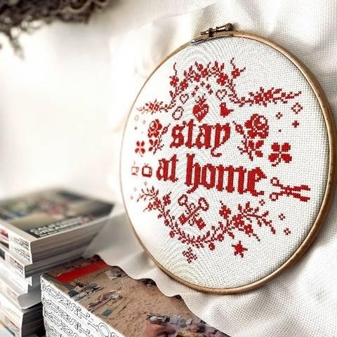 STAY AT HOME Kreuzstich Stickvorlage Stickmuster