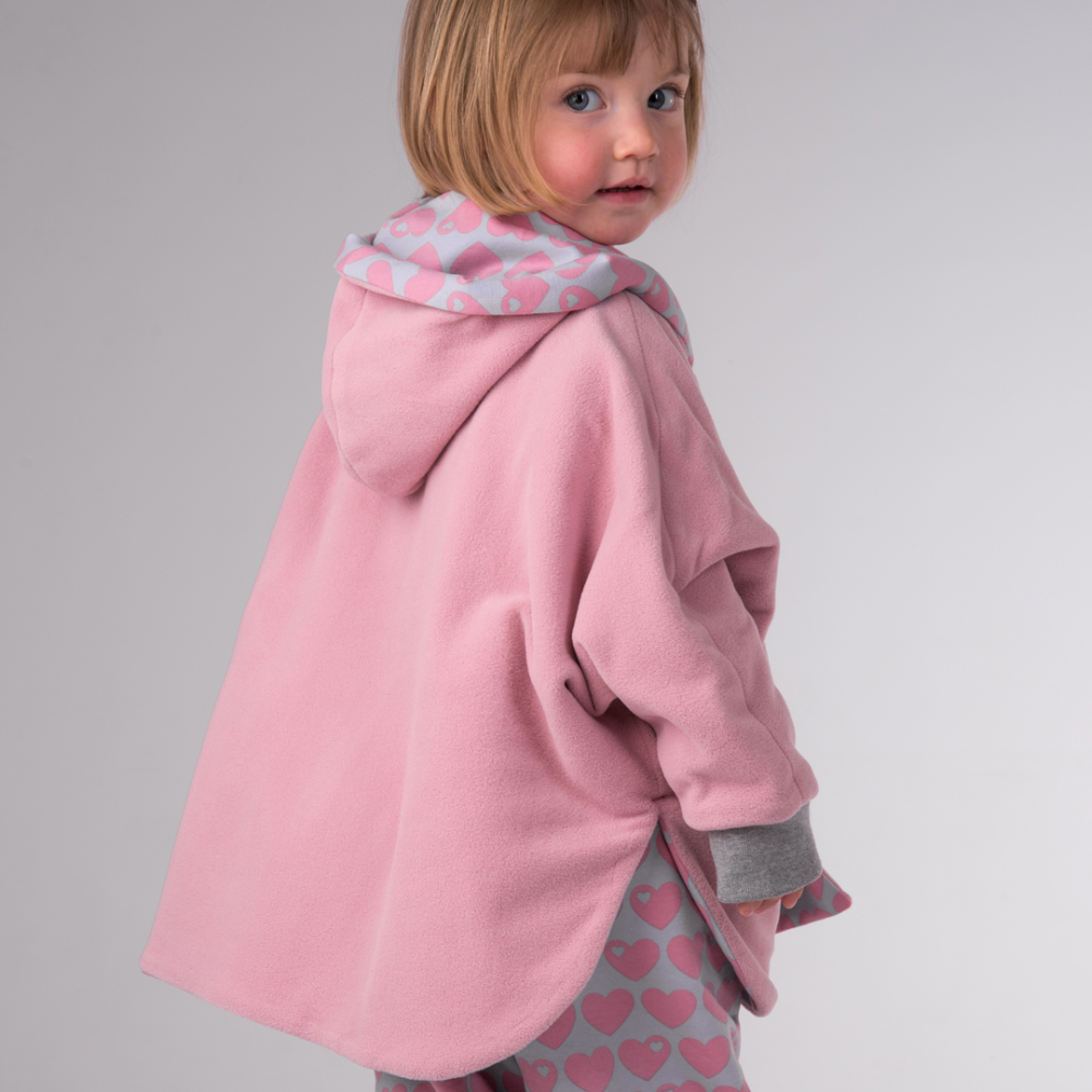 MARA baby girls poncho pattern, reversible, sleeves, hood