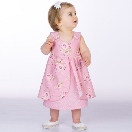 ROSA Baby girls pinafore dress pattern with bows or buttons at Makerist - Image 1