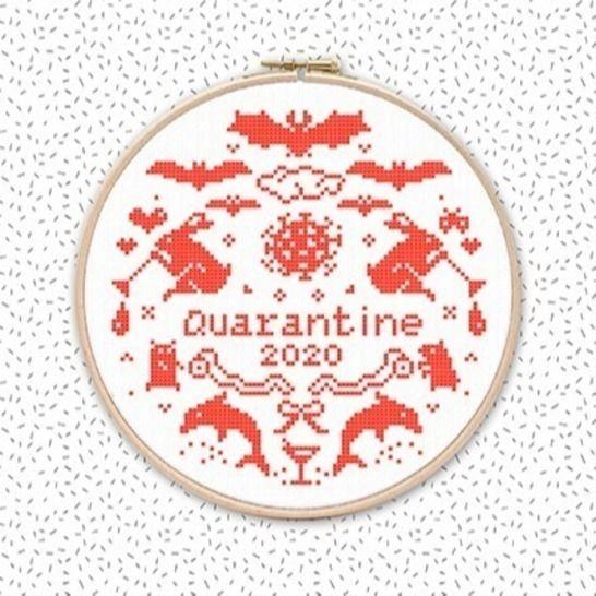 QUARANTÄNE 2020 Corona Kreuzstich Stickmuster Stickvorlage bei Makerist - Bild 1
