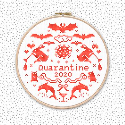 QUARANTÄNE 2020 Corona Kreuzstich Stickmuster Stickvorlage