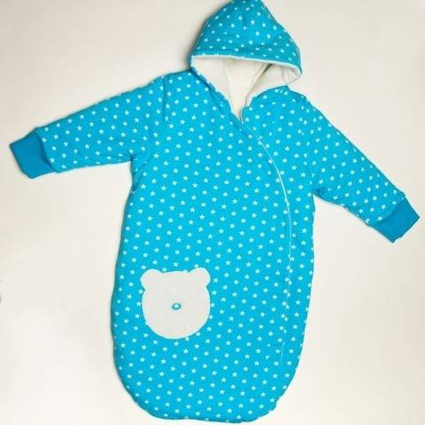 NEVIO Baby sleep sack pattern, lined with cuffs + hood