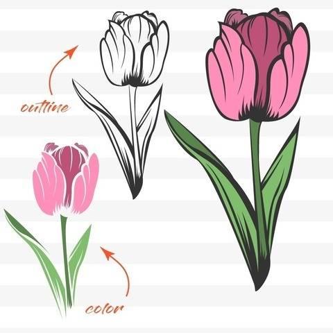 Tulpe  - Plotterdatei für 2 Schichten