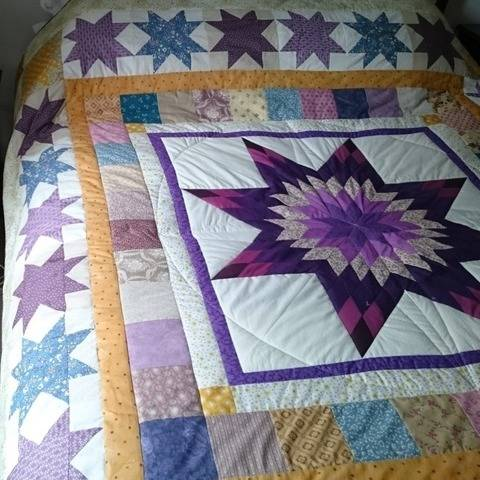 Double-bed quilt PDF pattern COMPASS AND STARS