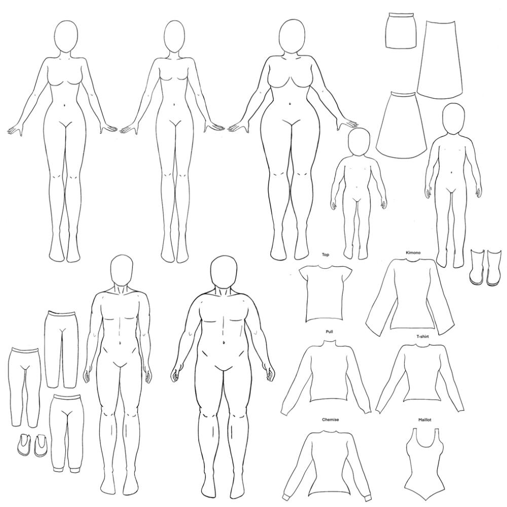 Silhouettes dessin de mode (homme, femme, enfant) le pack