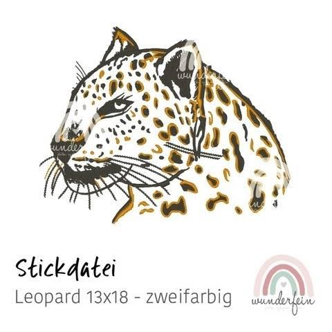 Stickdatei Leopard 13x18 - zweifarbig