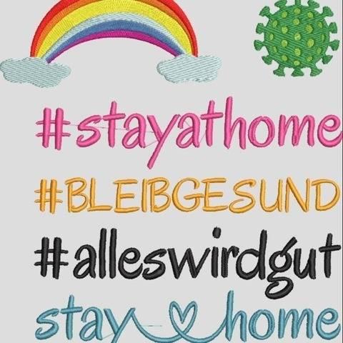 Stickdatei stay at home - Bleib Gesund Virus 603