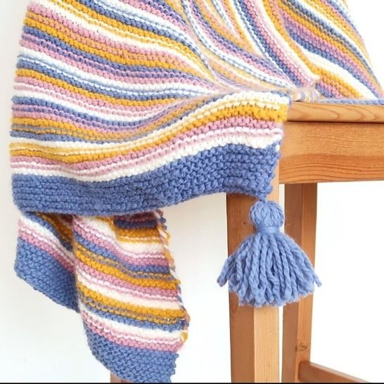 Chunky knit blanket pattern, easy knit throw blanket at Makerist - Image 1