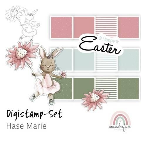 Digistamp-Set Hase Marie inkl. Digipaper & Schriftzug