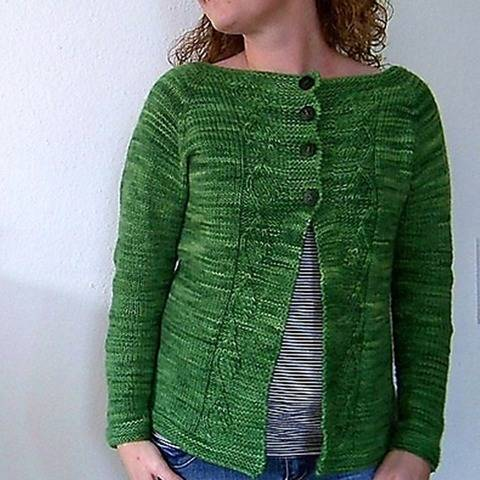 "Knitting pattern ""Green Leaf Cardigan"" at Makerist"