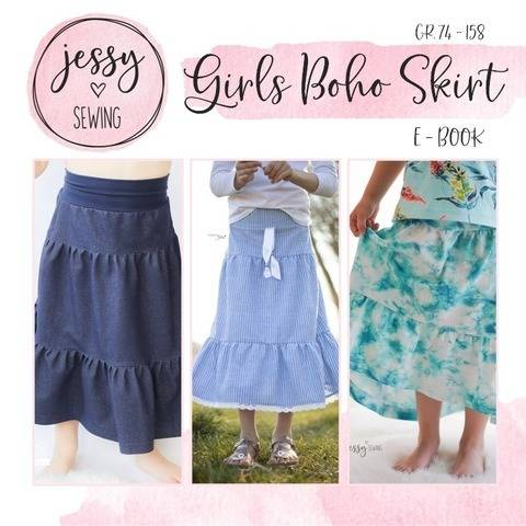 *Girls Boho Skirt* Stufenrock mit Passe Gr. 74-158, Rock