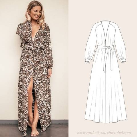 Long Robe / Dressing Gown pdf sewing pattern