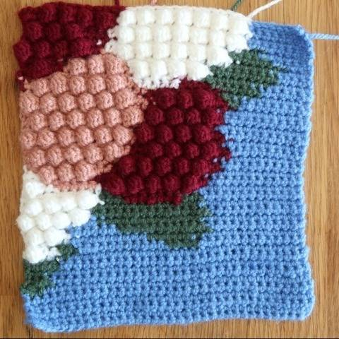Hydrangea afghan block for crochet blanket, crochet flower
