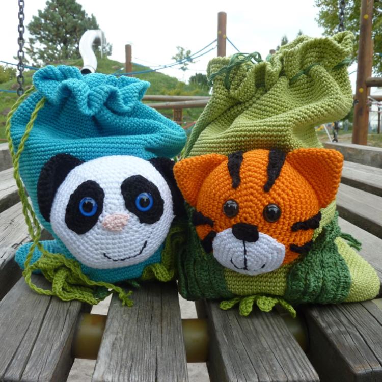 "Häkelanleitung - Kinderbeutel ""Tiger & Panda"""