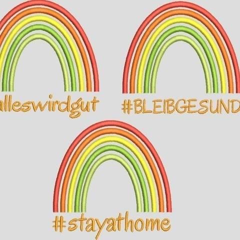 Stickdatei stay at home - Bleib Gesund Virus 2 Größen 603d