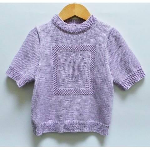 Pull enfant manches courtes coeur - Tutoriel tricot