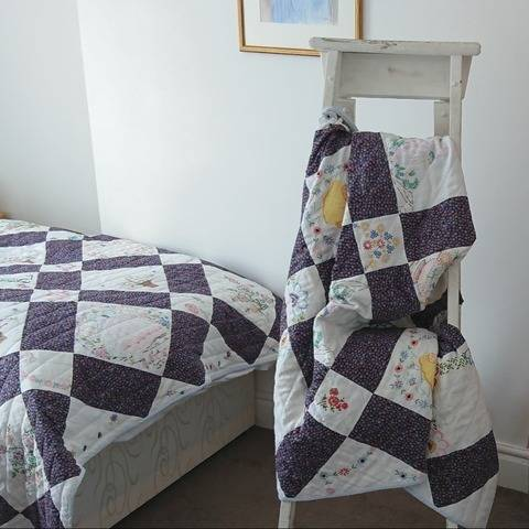 Single-bed quilt PDF pattern recycling FORGET-ME-NOT