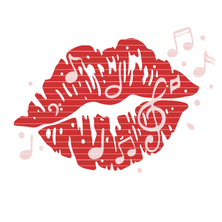 Cutting file music-kiss for Ironing-picture SVG DXF