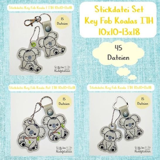 Digitale Stickdatei Key Fob Koala Set ITH 10x10-13x18 bei Makerist - Bild 1