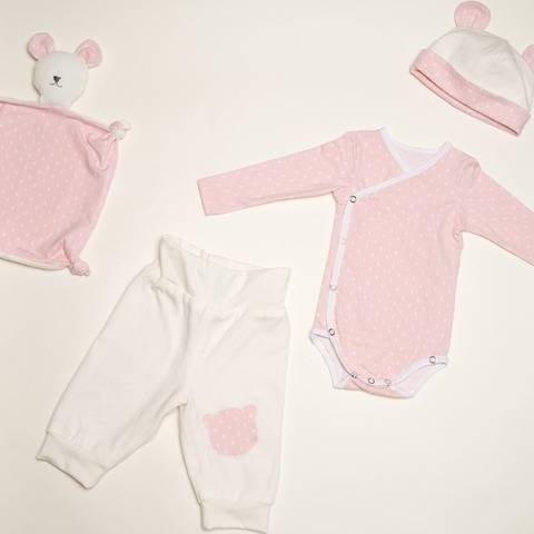 Baby Set bodysuit pants and cuddly toy CIELO BEBE and TEDDY