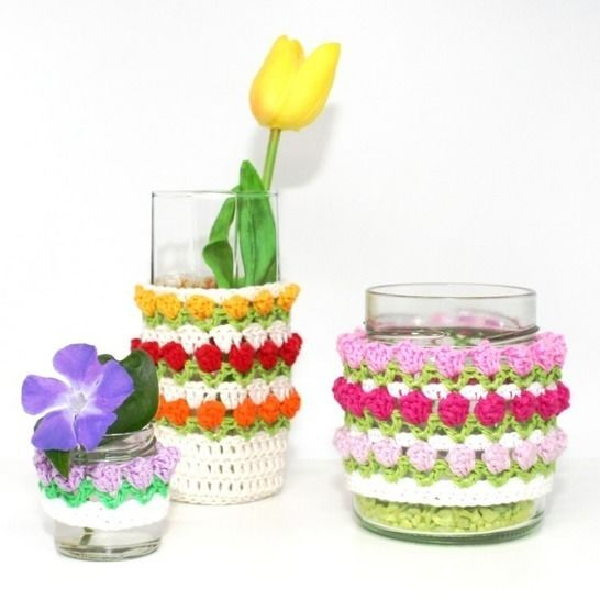 Tulip Glass-Cover - Decoration, Upcycling - Crochet Pattern at Makerist - Image 1