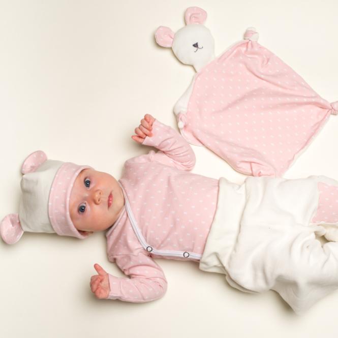 Baby Set Wickelbody Hose Beanie und Kuscheltier
