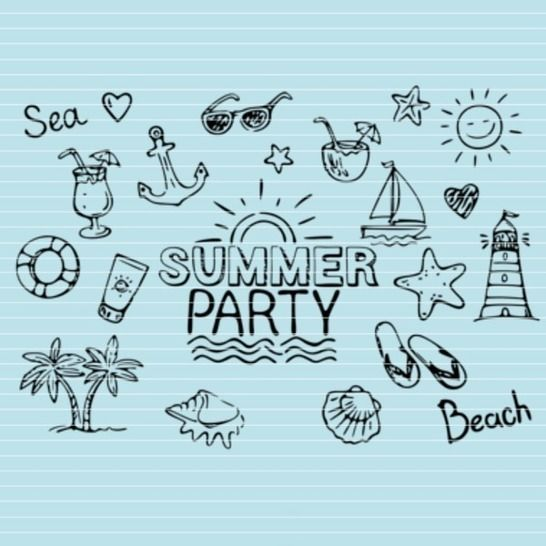 "Cutting file ""summerparty"" for Ironing-picture SVG DXF at Makerist - Image 1"