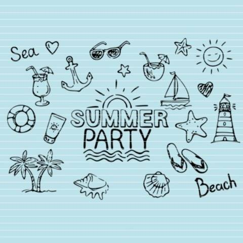 "Cutting file ""summerparty"" for Ironing-picture SVG DXF"
