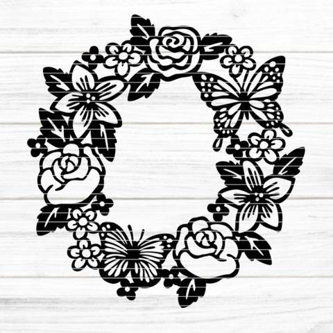 "Cutting file ""flowerwreath"" for Ironing-picture SVG DXF"