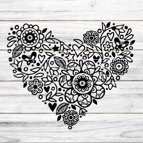 "Cutting File ""Flower heart"" Ironing-picture SVG DXF at Makerist - Image 1"