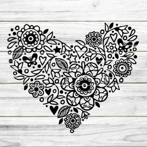 "Cutting File ""Flower heart"" Ironing-picture SVG DXF"