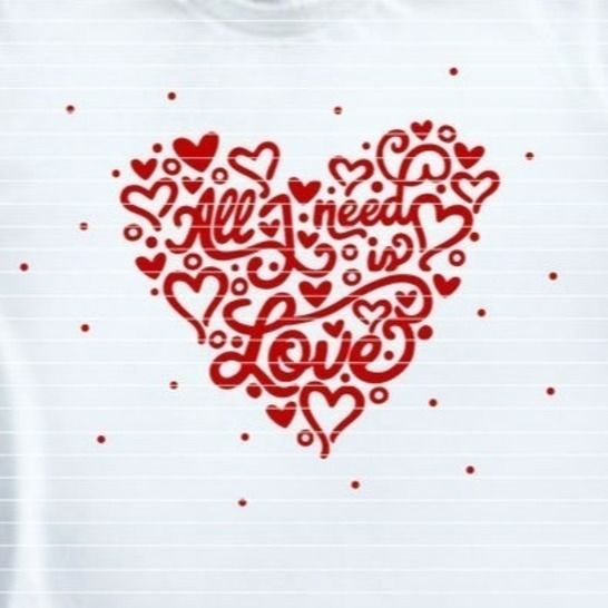 """Cutting File """"all i need is love"""" Ironing-picture SVG DXF at Makerist - Image 1"""