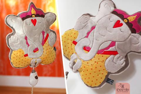 """Kuschelkissen und Spieluhr """"Ganesha"""" (Nähanleitung, Schnittmuster und Plotterdatei)"""
