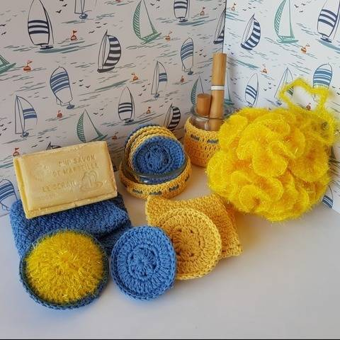 """Zero waste set for bathroom"" crochet pattern"
