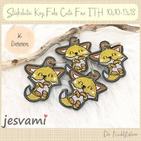 Digitale Stickserie Key Fob Cute Fox ITH 10x10-13x18