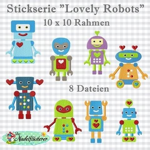 Digitale Stickserie Lovely Robots 10x10