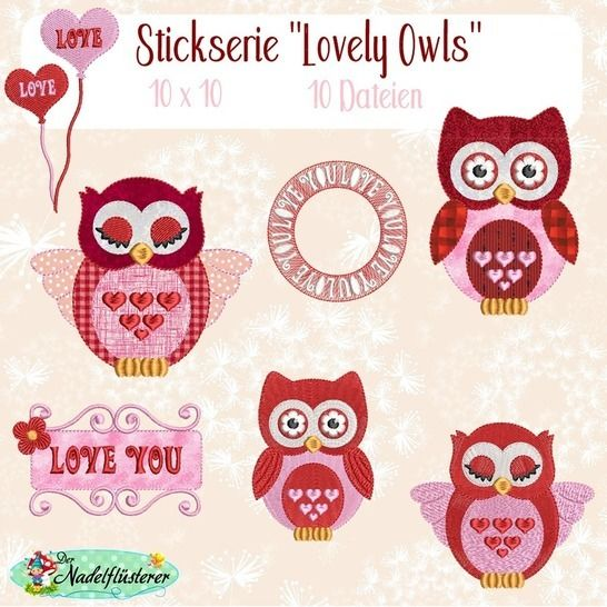 Digitale Stickserie Lovely Owls 10x10 bei Makerist - Bild 1
