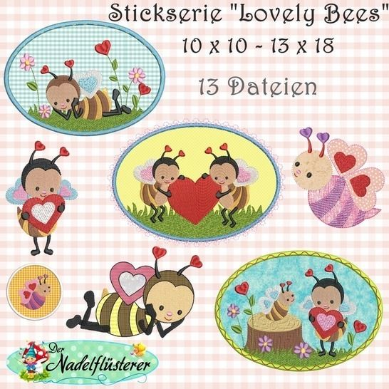 Digitale Stickserie Lovely Bees 10x10-13x18 bei Makerist - Bild 1