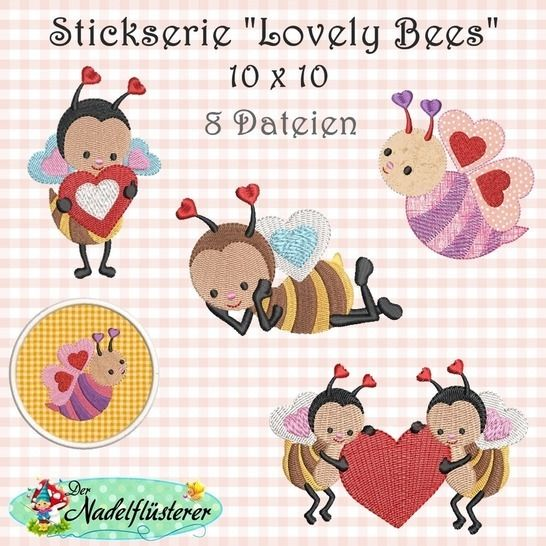 Digitale Stickserie Lovely Bees 10x10 bei Makerist - Bild 1