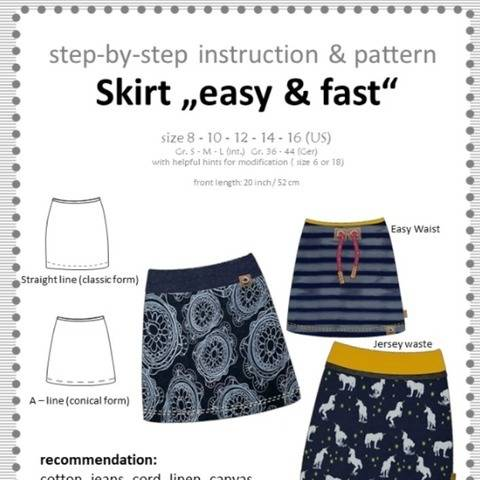 pattern and sewing instruction: skirt easy and fast