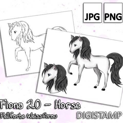 Fiona 2.0 - Horse - WeißGrau - DigiStamp
